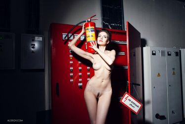 Girl with fire extinguisher by Aloisov
