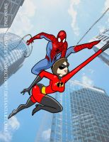 Swinging Spidey and Elastigirl by Inspector97