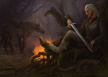 Geralt - After hunting by Julaxart