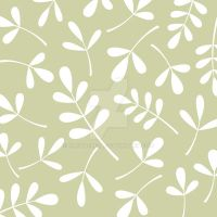 Assorted Leaves White on Lime by NatPaskell