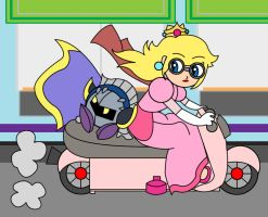Peach and Meta-Knight riding a pink scooter by aabarro13