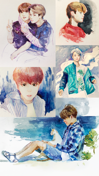 BTS Watercolor Sketches by CatMag