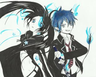 Black Rock Shooter and Rin Okumura by Dzuljet