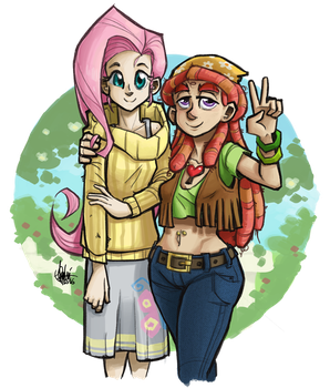 Fluttershy and Tree Hugger by TheArtrix