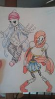 Gender Bent Sans and Papyrus by lynzeecillustration