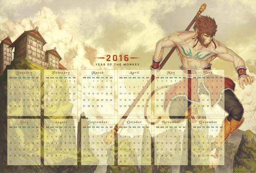 2016 Calendar - Year of the Monkey by Marfrey