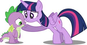 Twilight comforts Spike by DecPrincess