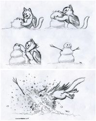 Owl Griffin Snow Play by RobtheDoodler