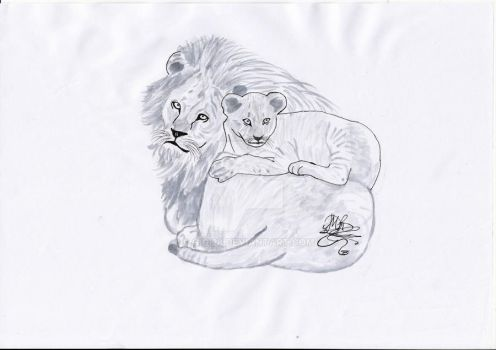 lion king with his son by gigi28