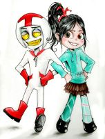 Vanellope and Turbo by Slaughterose