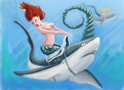Mermaids riding sharks by onewingedweasel