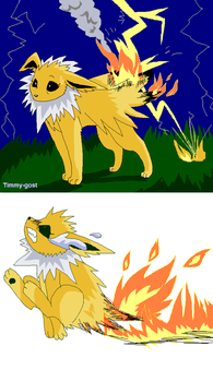 Jolteon on fire by timmy-gost