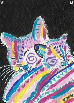 Pop Art  colorful Mother and baby cat  aceo by tulipteardrops