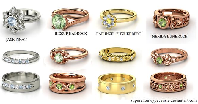 Rise of the Brave Tangled Dragons Wedding Rings by supereilonwypevensie