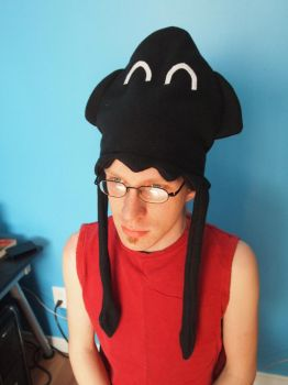 Inky the black squid fleece hat by WhimsicalSquidCo