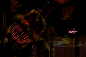 Nightmare FNAF1! Golden Freddy by Zacmariozero