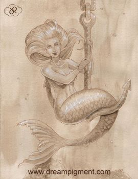 Mermaid On Anchor by DreamPigment