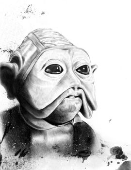 Nien Nunb pencil by SixPixeldesign