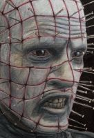 Close up of my Pinhead color pencil drawing by AtomiccircuS