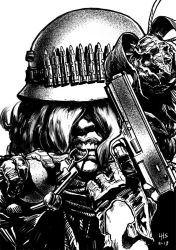 Post apocalyptic woman at arms by bumhand