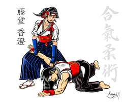 Kasumi practicing Ikkyo with her father colored by MarioUComics