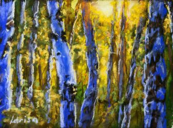 Birch trees, pastels with watercolor underpainting by Larisa12345