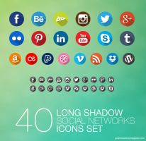 Long Shadow Social Icons Pack by mikymeg by mikymeg