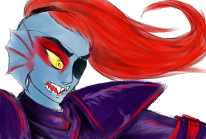Undyne, the Spear of Justice by VenusRain