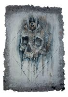 skull study on home made paper #3 by aliceinsane