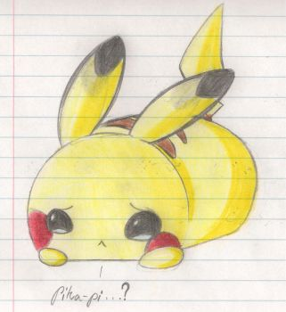 Sad Chibi Pikachu by WispTheKitty