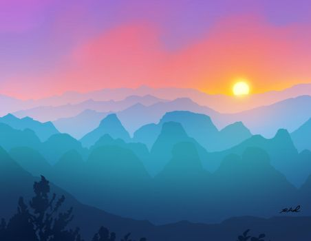 Sunset in the mountains! by rkamalart