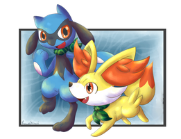 Riolu and Fennekin