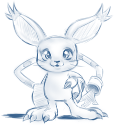 Tailmon/Gatomon sketch by ChocFutachan
