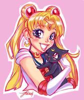 Sailor Moon and Luna by AjamariesArt
