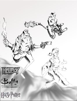 Hellboy Buffy Harry by Abdjaoui