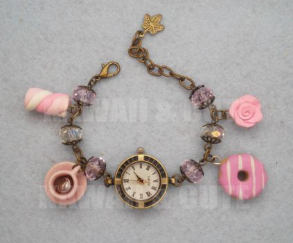 Bracelet Clock with pink sweets and candys by KawaiiAndCute