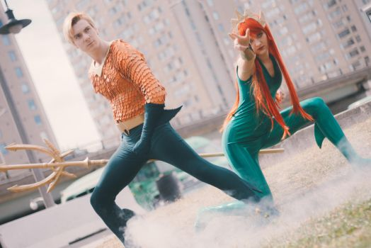 Aquaman and Mera Cosplay by Galactic-Reptile