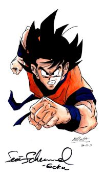 Goku - SIGNED BY SEAN SCHEMMEL by Ell-Shmell