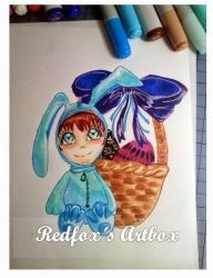 Blue bunny by redfoxlady
