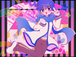 kaito gives a peace sign by pawonbelly