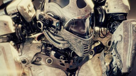 Space traveler in military space suit by Ociacia