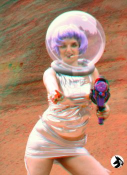 Space Girl 3 3D anaglyph by NetSeawolf