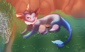Commission - Vaporeon and Eevee by sailingShipwrecks