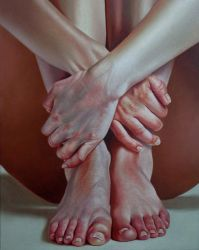 crossed hands and black hole, oil on canvas by renato54
