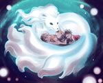 Alolan Ninetales raising the ASL trio (OP x PKMN) by MajorasMasks