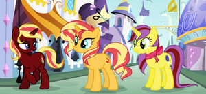 Sunset Shimmer and her sisters [Base Edit] by SapphireTwinkle