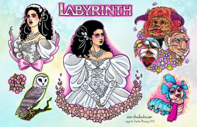 Labyrinth Jareth and Sara Tattoo Flash by thedanika