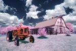Tractor and Barn in IR by swiftmoonphoto
