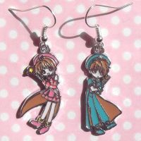 Sakura and Syaoran charm earrings by KawaiiMoon24