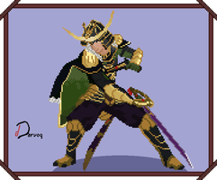 Samurai Warriors Pixel Art - Date Masamune by DarvogDuck